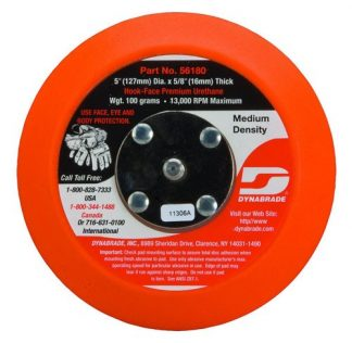 "Dynabrade 56180 5"" (127 mm) Dia. Non-Vacuum Disc Pad, Hook-Face, Short Nap"