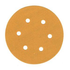 "Gold Turbo Sanding Discs 6"" (152mm) Dia, Velcro-Backed, 6 Hole, 100/Pack"